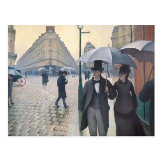 Rue de Paris, temps de pluie by Gustave Caillebott Postcard