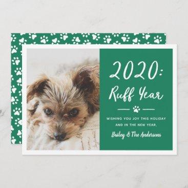 Ruff Year Green Dog Photo Funny 2020 Holiday Card