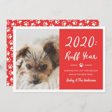 Ruff Year Red Dog Photo Funny 2020 Holiday Card