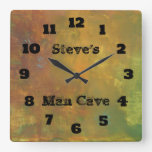 Rugged Rustic Earthy Tones Abstract Man Cave Square Wall Clocks