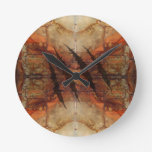 Rusted Metal Claw Rip Pattern Round Clocks
