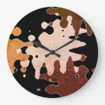 Rustic Abstract Art Large Clock