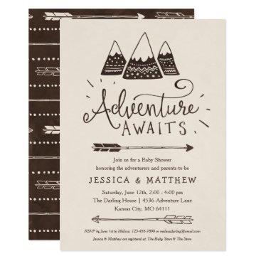 "Rustic ""Adventure Awaits"" Baby Shower Invitations"