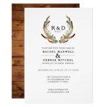 Rustic Antler Watercolor   Simple Wedding Invitation