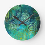 rustic,art nouveau,shabby,chic,green,gold,elegant, round wall clock