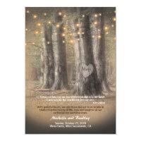 Rustic Autumn Tree String Lights Informal Wedding Card