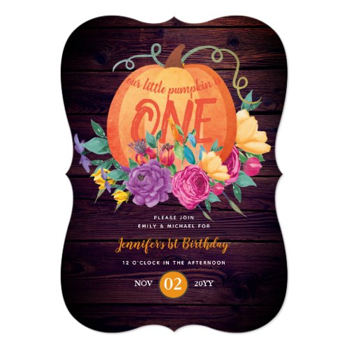 Rustic Babys 1st Birthday Little Pumpkin Is One Invitation
