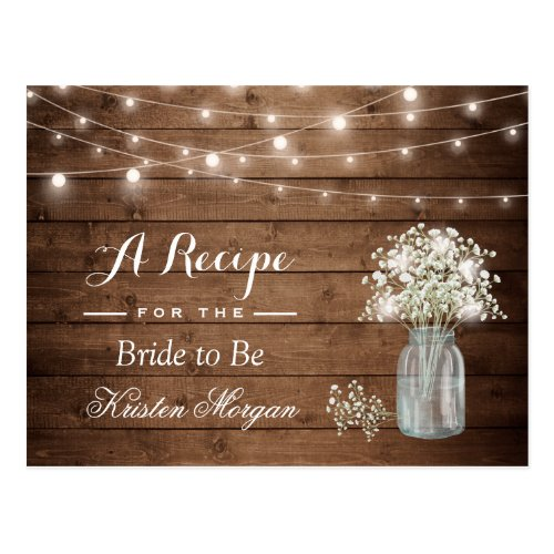 Rustic Baby's Breath String Lights Bridal Recipe Postcard