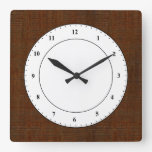 Rustic Bamboo Wood Grain Texture Look Square Wall Clocks