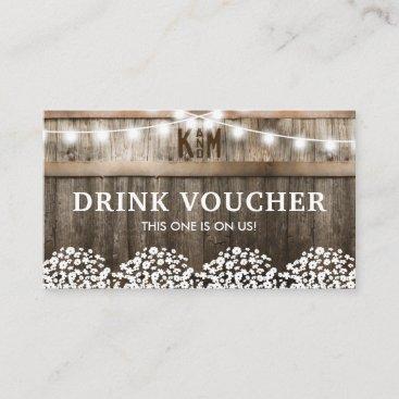 Rustic Barn Wedding Free Drinks Voucher Business Card