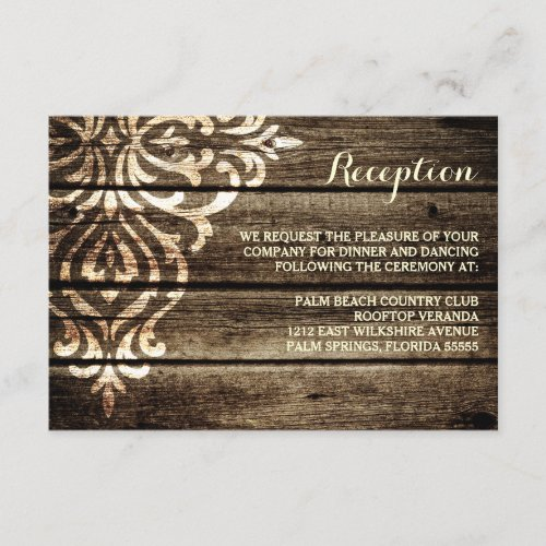 Rustic Barn Wood Damask Vintage Wedding Reception Enclosure Card
