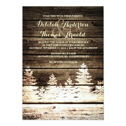 Rustic Barn Wood Pine Trees Winter Wedding Invite Zazzle