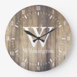 Rustic Barn Wood Planks White Roman Numerals Name Large Clock