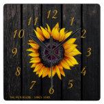 Rustic barn wood sunflower family farmhouse square wall clock