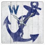 Rustic Beach Wood Blue Nautical Anchor Monogrammed Square Wall Clock