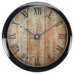 Rustic Beautiful Wood Texture Aqua Clock