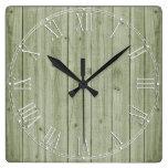 Rustic Beautiful Wood Texture Square Wall Clock