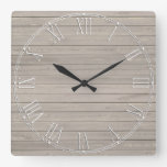 Rustic Beautiful Wood Texture Square Wallclocks