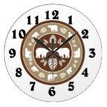 Rustic beige bear pinecone round clock
