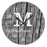 Rustic Black Wood Family Name Monogram Initial Large Clock