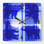 Rustic blue plaid bears square wall clock