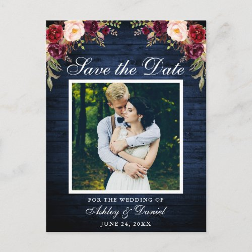 Rustic Blue Wood Floral Burgundy Save the Date Announcement Postcard