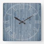 Rustic Blue Wood Texture Square Wall Clock