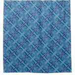 Rustic Blue Wooden square pattern Shower Curtain
