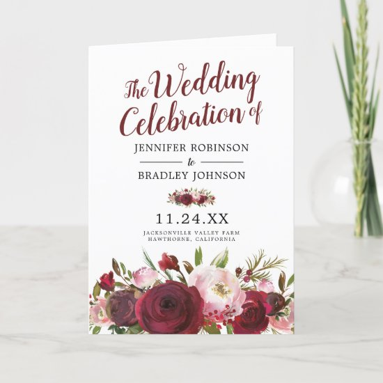 Rustic Blush Burgundy Flowers Wedding Ceremony Program