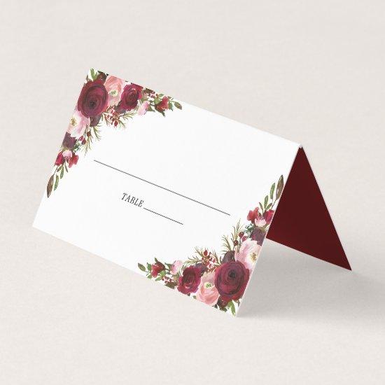 Rustic Blush Burgundy Flowers Wedding Place Card