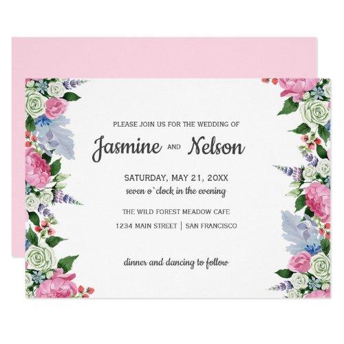 Rustic Boho Pink lilac floral border  wedding Invitation