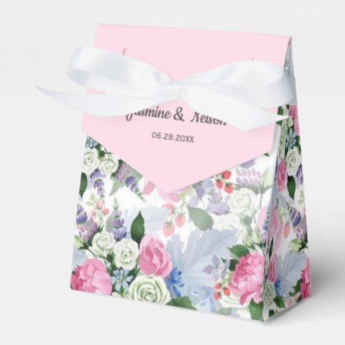 Rustic boho pink lilac watercolor flower wedding favor box