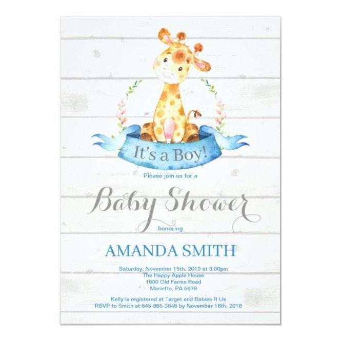 Boy Giraffe Baby Shower Invitation Blue