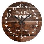 Rustic Brown Weathered Wood Wedding Large Clock