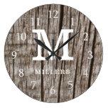 Rustic Brown Wood Family Name Monogram Initial Large Clock
