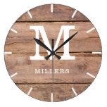 Rustic Brown Wood Farmhouse Monogram Name Large Clock