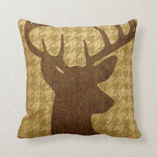 Rustic Buck Silhouette on Houndstooth Throw Pillow