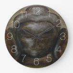 Rustic Buddha face Large Clock