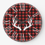 Rustic Buffalo Check Plaid & White Deer Antlers Large Clock