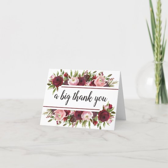 Rustic Burgundy Blush Floral Thank You