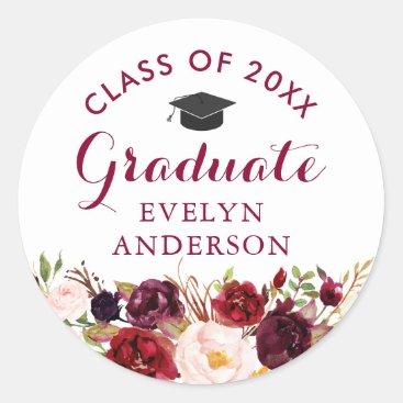 Rustic Burgundy Floral Graduate Graduation Classic Round Sticker