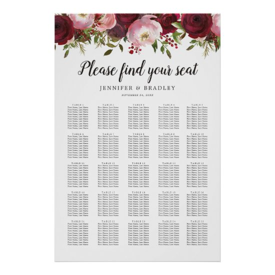 Rustic Burgundy Floral Wedding 25 Table Chart