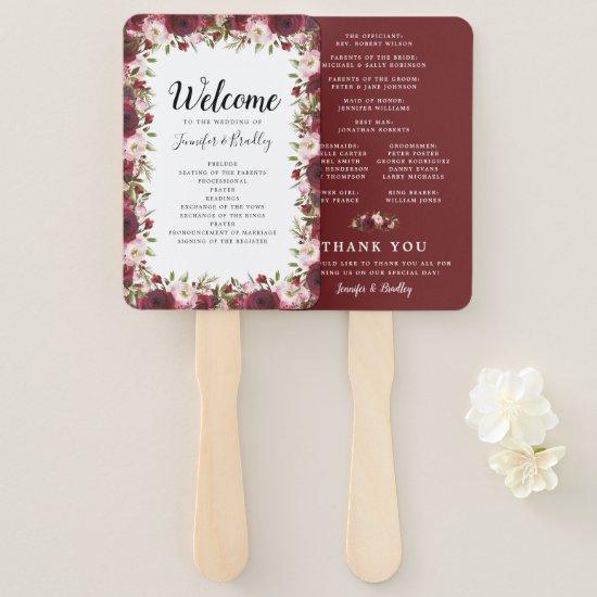Rustic Burgundy Marsala Floral Wedding Program Hand Fan