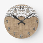 Rustic Burlap and Lace Clocks