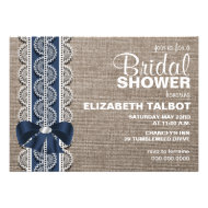 Rustic Burlap, Lace & Bow Bridal Shower Invitation