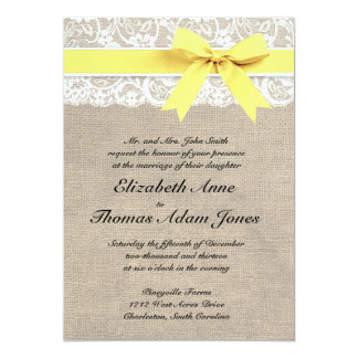 Rustic Burlap Lace Wedding Invitation Yellow