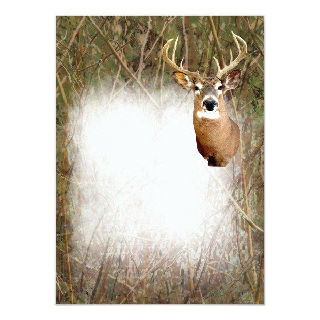 Rustic Camo Hunting Deer Antlers Blank Invitations Zazzle
