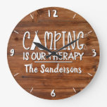 Rustic Camping is Our Therapy Tent Family Name Large Clock