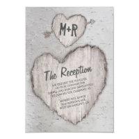 Rustic Carved Heart Birch Tree Wedding Reception Card