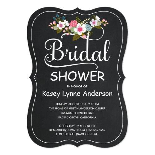 Rustic Chalkboard Floral Wreath Bridal Shower Invitation